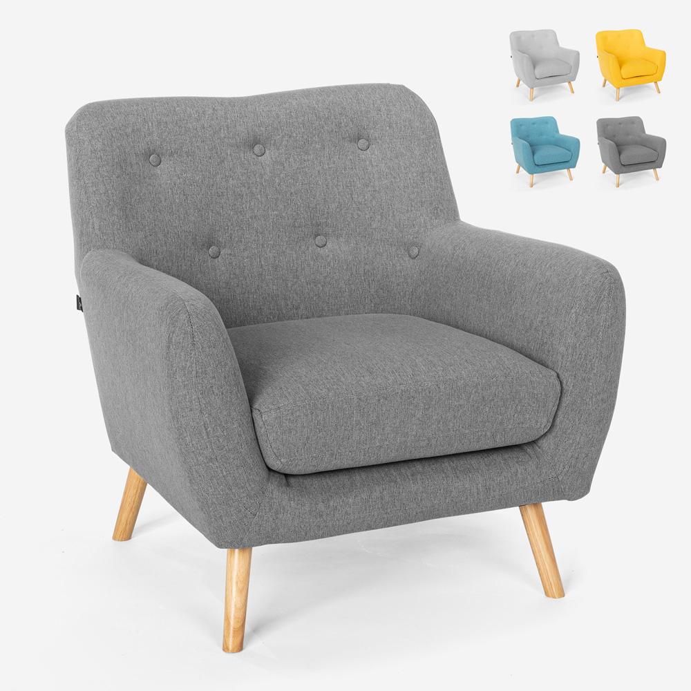 Moderne design lounge stol i nordisk stil i træ og stof Modesto