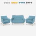 Stuen sæt 2 skandinaviske design lænestole og 2 pers. Sofa i træ og stof Cleis